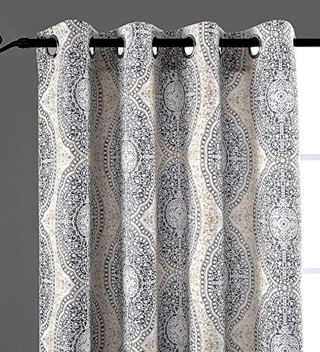DriftAway Adrianne DamaskFloral Pattern ThermalRoom Darkening Grommet Unlined Window Curtains Set Of Two Panels Each 52x84 BeigeGray Natural Color 0 0