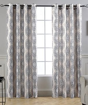 DriftAway Adrianne DamaskFloral Pattern ThermalRoom Darkening Grommet Unlined Window Curtains Set Of Two Panels Each 52x84 BeigeGray Natural Color 0 300x360