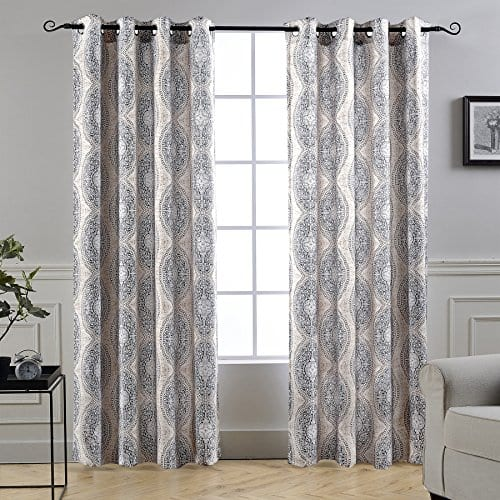 DriftAway Adrianne DamaskFloral Pattern ThermalRoom Darkening Grommet Unlined Window Curtains Set Of Two Panels Each 52x84 BeigeGray Natural Color 0