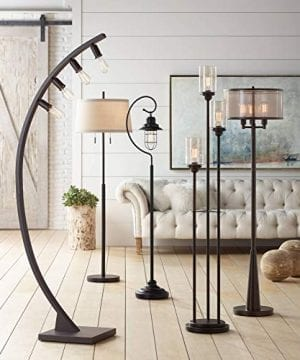 Durango Rustic Floor Lamp 3 Light Oiled Bronze Metal Brown Sheer Shade LED Edison Bulbs For Living Room Bedroom Franklin Iron Works 0 3 300x360