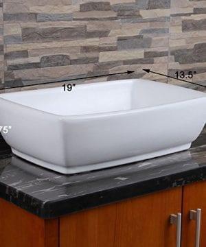 ELIMAXS Unique Rectangle Shape White Porcelain Ceramic Bathroom Vessel Sink 0 0 300x360