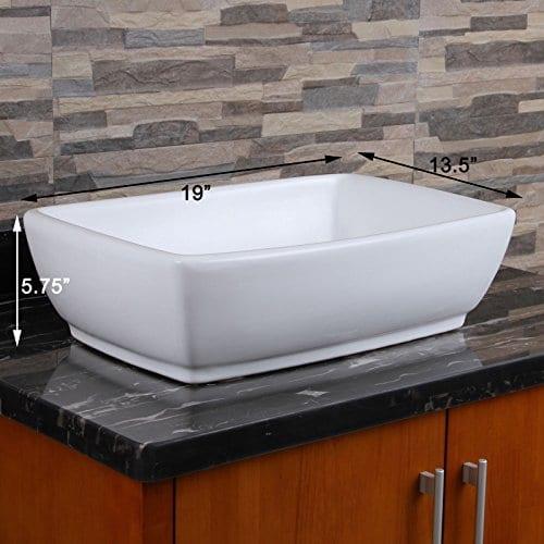 ELIMAXS Unique Rectangle Shape White Porcelain Ceramic Bathroom Vessel Sink 0 0