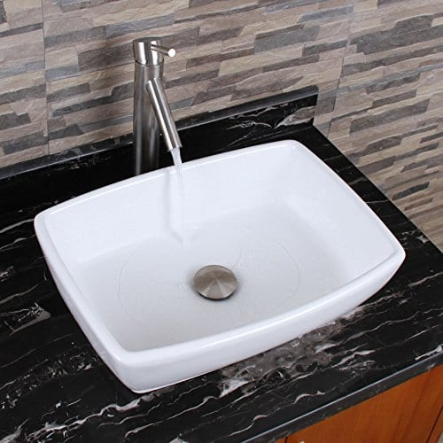 ELIMAXS Unique Rectangle Shape White Porcelain Ceramic Bathroom Vessel Sink 0 1