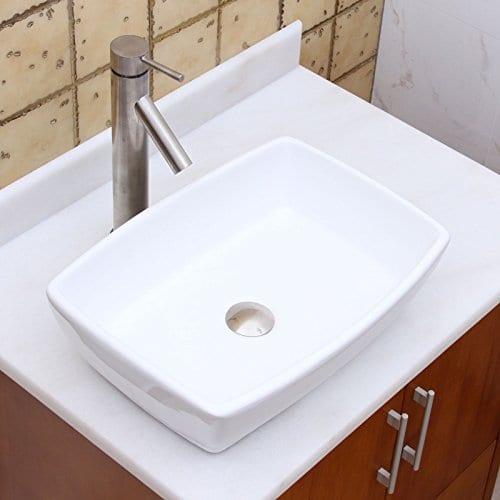ELIMAXS Unique Rectangle Shape White Porcelain Ceramic Bathroom Vessel Sink 0 2