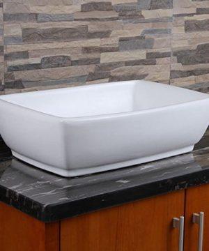 ELIMAXS Unique Rectangle Shape White Porcelain Ceramic Bathroom Vessel Sink 0 300x360
