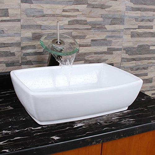 ELIMAXS Unique Rectangle Shape White Porcelain Ceramic Bathroom Vessel Sink 0 4