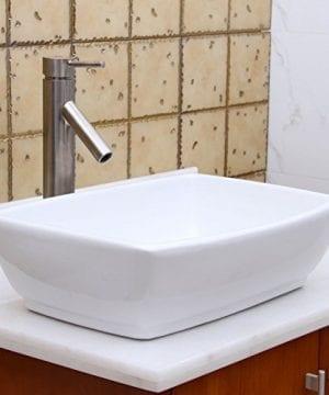 ELIMAXS Unique Rectangle Shape White Porcelain Ceramic Bathroom Vessel Sink 0 5 300x360