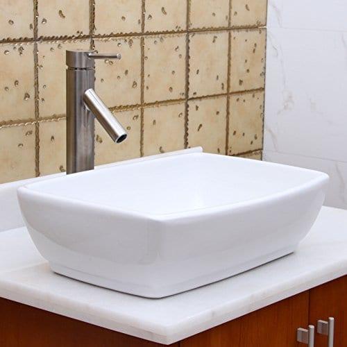 ELIMAXS Unique Rectangle Shape White Porcelain Ceramic Bathroom Vessel Sink 0 5