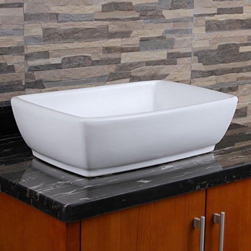 ELIMAXS Unique Rectangle Shape White Porcelain Ceramic Bathroom Vessel Sink 0