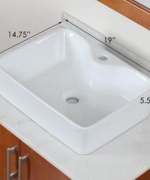 ELITE Bathroom Rectangle Long Ceramic Porcelain Vessel Sink For VanityFaucet 0 0 300x360