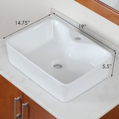 ELITE Bathroom Rectangle Long Ceramic Porcelain Vessel Sink For VanityFaucet 0 0