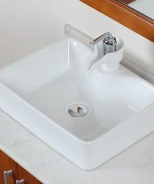 ELITE Bathroom Rectangle Long Ceramic Porcelain Vessel Sink For VanityFaucet 0 1 300x360