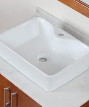 ELITE Bathroom Rectangle Long Ceramic Porcelain Vessel Sink For VanityFaucet 0 300x360