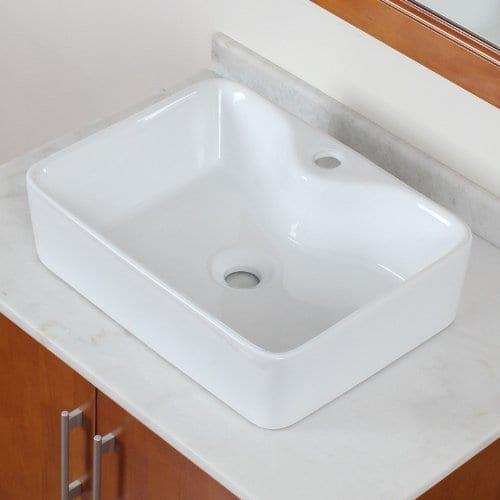 ELITE Bathroom Rectangle Long Ceramic Porcelain Vessel Sink For VanityFaucet 0