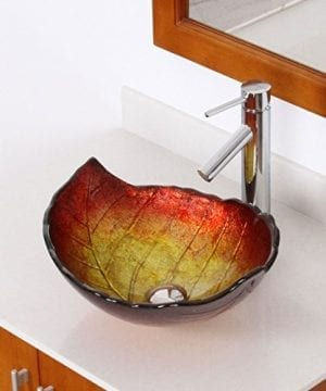 ELITE-Summer-Leaves-Design-Tempered-Glass-Bathroom-Vessel-Sink-Chrome-Finish-Faucet-Combo-0-0
