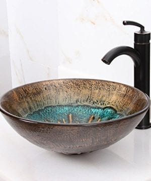 ELITE Volcanic Pattern Tempered Glass Bathroom Vessel Sink Oil Rubbed Bronze Faucet Combo 0 0 300x360