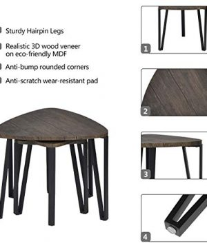 Easy Assembly Industrial Nesting Tables Living Room Coffee Table Sets Stacking End Side Tables Leisure Wooden Nightstands Telephone Table For Home OfficeBrown CAS020 0 0 300x360