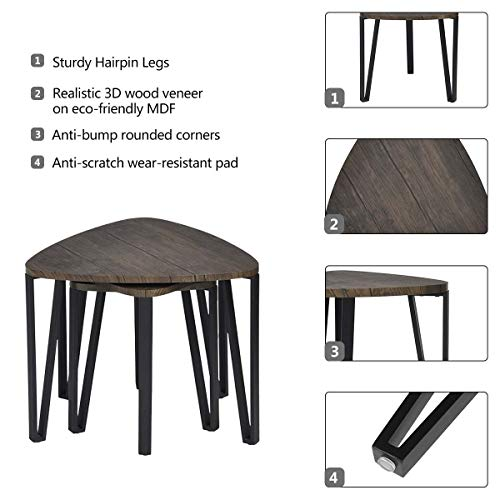 Easy Assembly Industrial Nesting Tables Living Room Coffee Table Sets Stacking End Side Tables Leisure Wooden Nightstands Telephone Table For Home OfficeBrown CAS020 0 0