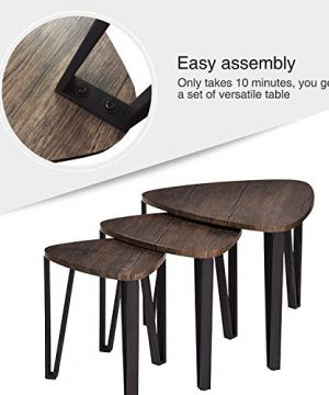 Easy Assembly Industrial Nesting Tables Living Room Coffee Table Sets Stacking End Side Tables Leisure Wooden Nightstands Telephone Table For Home OfficeBrown CAS020 0 1 300x360