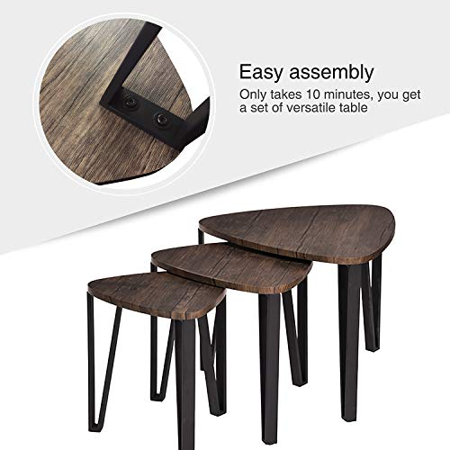 Easy Assembly Industrial Nesting Tables Living Room Coffee Table Sets Stacking End Side Tables Leisure Wooden Nightstands Telephone Table For Home OfficeBrown CAS020 0 1