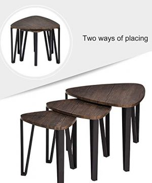 Easy Assembly Industrial Nesting Tables Living Room Coffee Table Sets Stacking End Side Tables Leisure Wooden Nightstands Telephone Table For Home OfficeBrown CAS020 0 2 300x360
