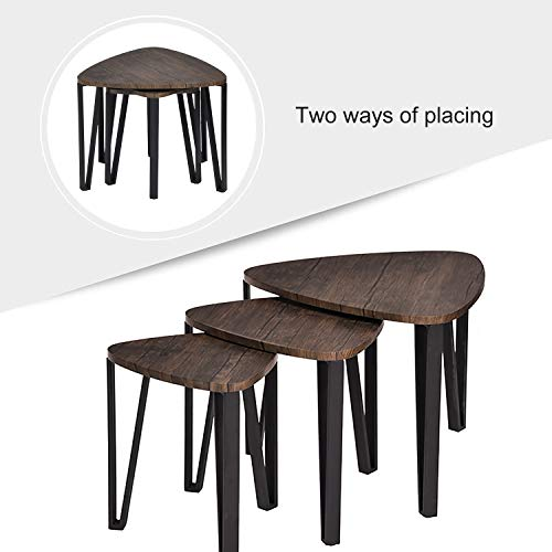 Easy Assembly Industrial Nesting Tables Living Room Coffee Table Sets Stacking End Side Tables Leisure Wooden Nightstands Telephone Table For Home OfficeBrown CAS020 0 2