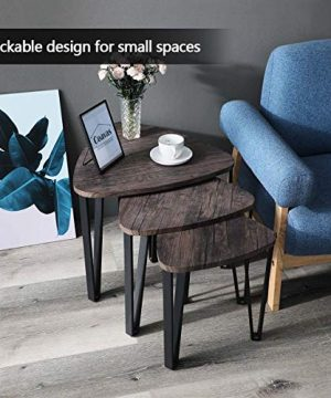 Easy Assembly Industrial Nesting Tables Living Room Coffee Table Sets Stacking End Side Tables Leisure Wooden Nightstands Telephone Table For Home OfficeBrown CAS020 0 3 300x360