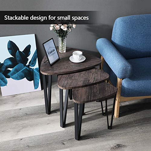 Easy Assembly Industrial Nesting Tables Living Room Coffee Table Sets Stacking End Side Tables Leisure Wooden Nightstands Telephone Table For Home OfficeBrown CAS020 0 3