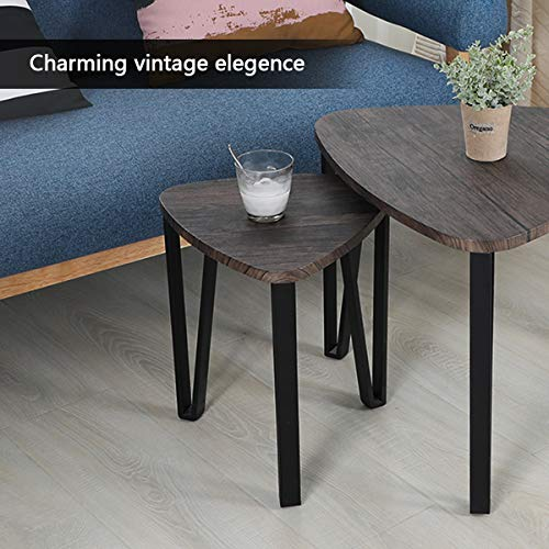 Easy Assembly Industrial Nesting Tables Living Room Coffee Table Sets Stacking End Side Tables Leisure Wooden Nightstands Telephone Table For Home OfficeBrown CAS020 0 4