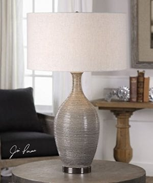 Elegant Textured Gourd Shaped Table Lamp Gray Brown Earth Tones 0 0 300x360