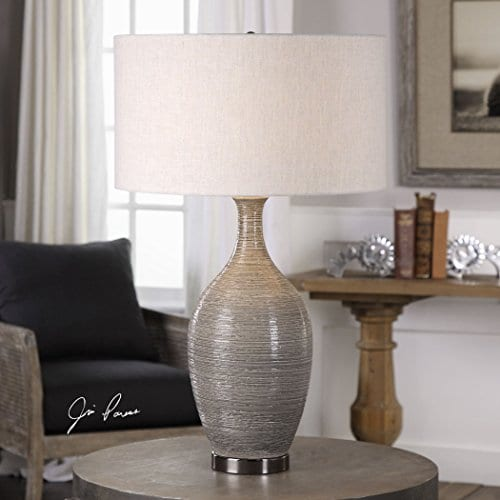 Elegant Textured Gourd Shaped Table Lamp Gray Brown Earth Tones 0 0