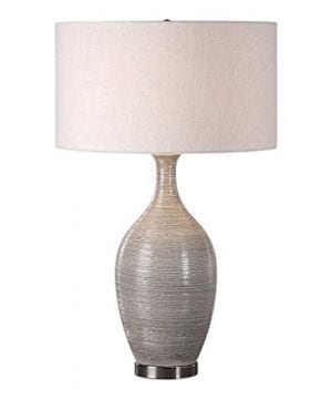 Elegant Textured Gourd Shaped Table Lamp Gray Brown Earth Tones 0 300x360