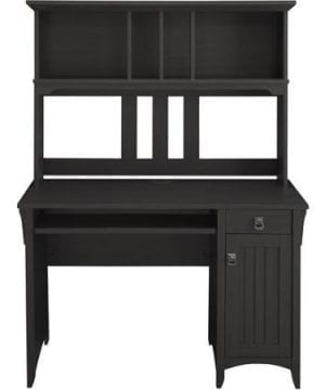 Elegant Traditional Mission Style Computer Desk And Hutch Black Finish 0 300x360