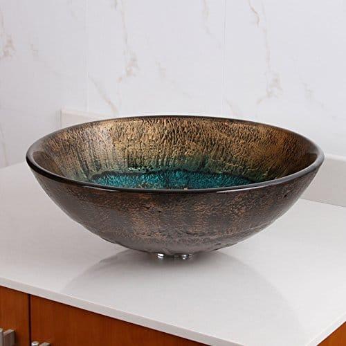 Elite 1507 Volcanic Pattern Tempered Glass Bathroom Vessel Sink 0 0