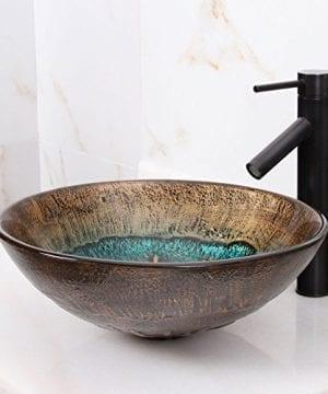 Elite 1507 Volcanic Pattern Tempered Glass Bathroom Vessel Sink 0 3 300x360