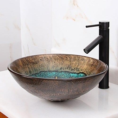 Elite 1507 Volcanic Pattern Tempered Glass Bathroom Vessel Sink 0 3