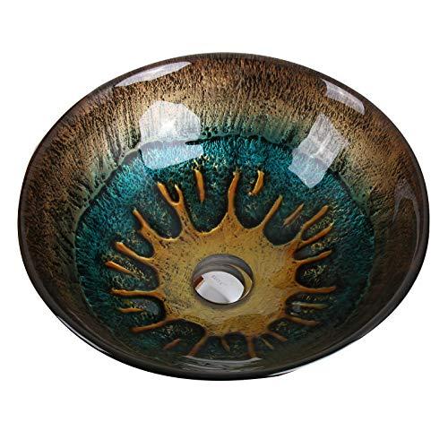 Elite 1507 Volcanic Pattern Tempered Glass Bathroom Vessel Sink 0