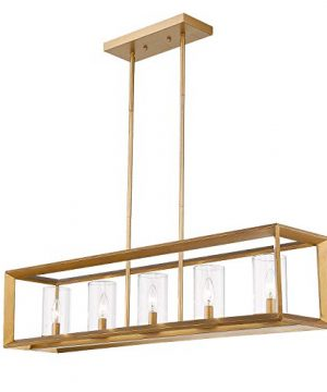 Emliviar 5 Light Dining Room Lighting Fixtures Vintage Pendant Light For Kitchen Island Antique Brass Finish With Clear Glass Shade 3040 5 0 300x360