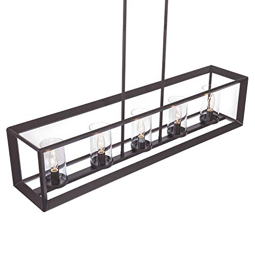 Emliviar 5 Light Kitchen Island Lighting Modern Domestic Linear Pendant Light Fixture Oil Rubbed Bronze Finish With Clear Glass Shade 2074LP ORB 0 0