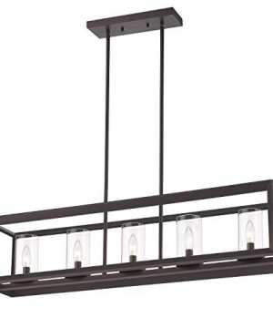 Emliviar 5 Light Kitchen Island Lighting Modern Domestic Linear Pendant Light Fixture Oil Rubbed Bronze Finish With Clear Glass Shade 2074LP ORB 0 300x360