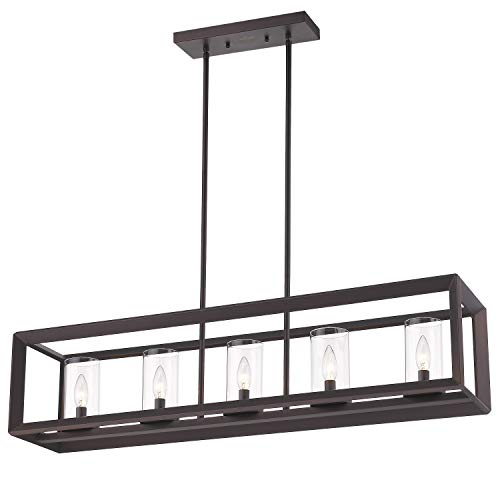 Emliviar 5 Light Kitchen Island Lighting Modern Domestic Linear Pendant Light Fixture Oil Rubbed Bronze Finish With Clear Glass Shade 2074LP ORB 0