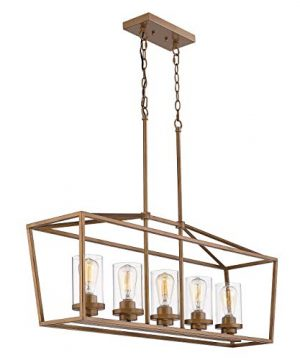 Emliviar 5 Light Pendant Lighting For Kitchen Island Dining Room Lighting Fixture Antique Gold Finish With Clear Glass Shade P3033A 5LP 0 300x360