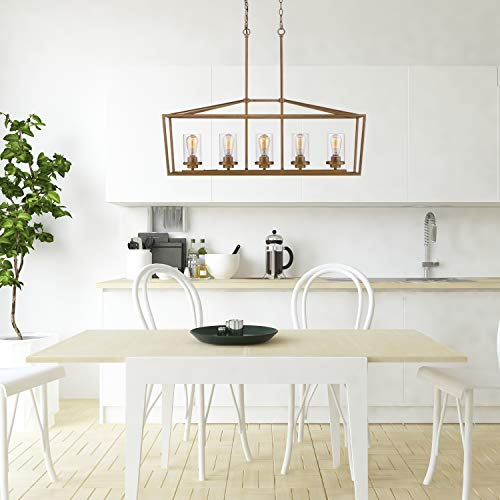 Emliviar 5 Light Pendant Lighting For Kitchen Island Dining Room Lighting Fixture Antique Gold Finish With Clear Glass Shade P3033A 5LP 0 4