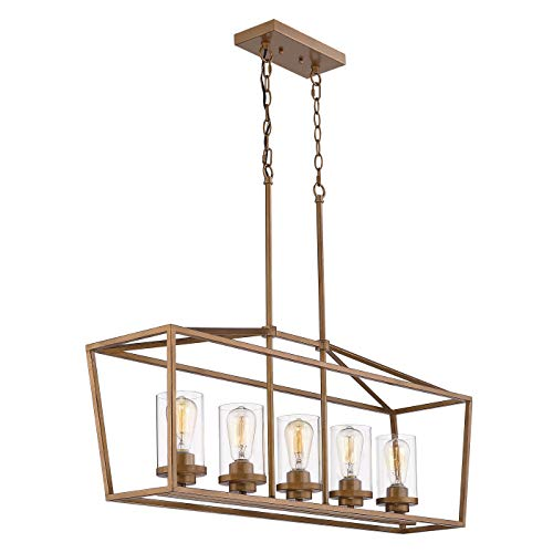 Emliviar 5 Light Pendant Lighting For Kitchen Island Dining Room Lighting Fixture Antique Gold Finish With Clear Glass Shade P3033A 5LP 0