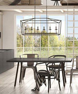 Emliviar 6 Light Kitchen Island Lighting Modern Linear Pendant Light Fixture Oil Rubbed Bronze Finish P3035 6LP 0 2 300x360