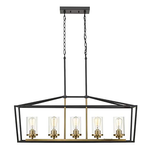 Emliviar Modern 5 Light Kitchen Island Pendant Light Fixture Linear Pendant Lighting Black And Gold Finish With Clear Glass Shade P3033 5LP 0 0