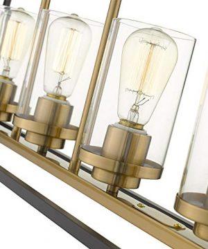 Emliviar Modern 5 Light Kitchen Island Pendant Light Fixture Linear Pendant Lighting Black And Gold Finish With Clear Glass Shade P3033 5LP 0 1 300x360