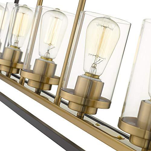 Emliviar Modern 5 Light Kitchen Island Pendant Light Fixture Linear Pendant Lighting Black And Gold Finish With Clear Glass Shade P3033 5LP 0 1