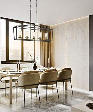 Emliviar Modern 5 Light Kitchen Island Pendant Light Fixture Linear Pendant Lighting Black And Gold Finish With Clear Glass Shade P3033 5LP 0 2 300x360