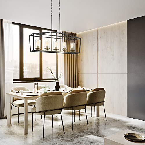 Emliviar Modern 5 Light Kitchen Island Pendant Light Fixture Linear Pendant Lighting Black And Gold Finish With Clear Glass Shade P3033 5LP 0 2
